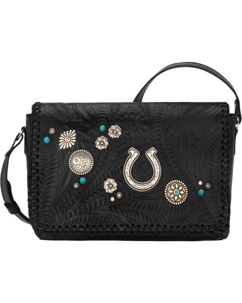 American West Women's Lariat Love Crossbody Bag, Black, hi-res