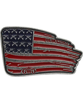Girls With Guns Waving Flag Attitude Belt Buckle, Silver, hi-res