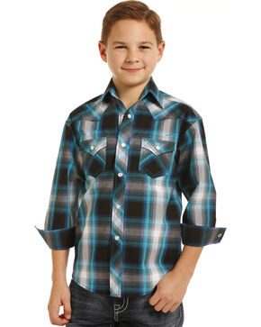 Rock & Roll Cowboy Boys' Plaid Long Sleeve Snap Shirt, Black, hi-res