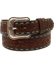 Ariat Men's Laced Floral Leather Belt , , hi-res