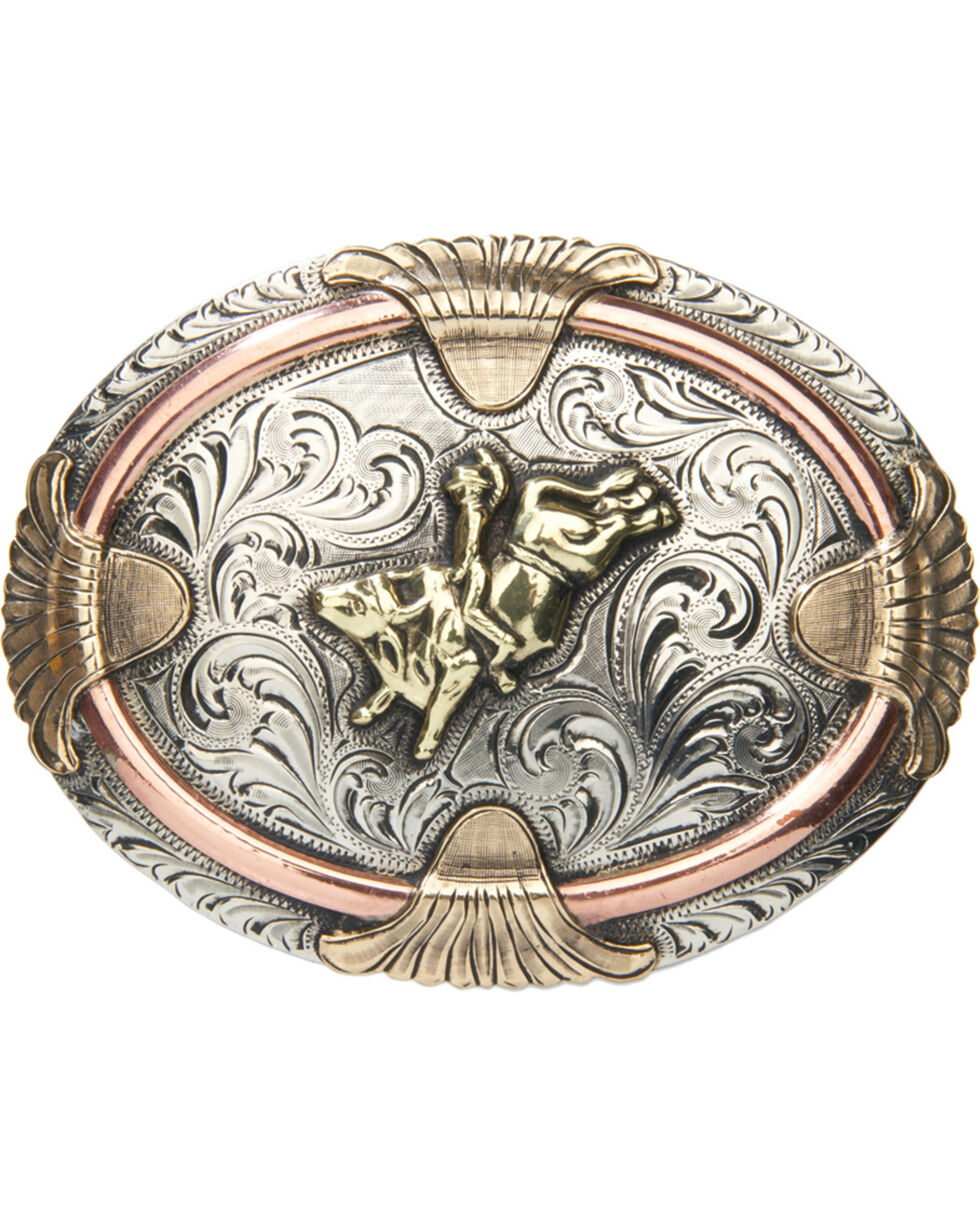 "AndWest Vintage ""Mesa"" Three-Tone Belt Buckle , Two Tone, hi-res"