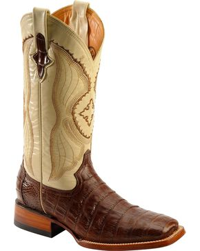 Ferrini Men's Belly Caiman Crocodile Exotic Western Boots, Chocolate, hi-res