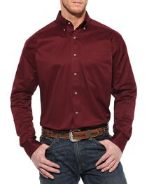 Ariat Burgundy Twill Cowboy Shirt - Big & Tall, , hi-res