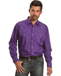 Ely Cattleman Men's Purple Button Up Long Sleeve Shirt , , hi-res