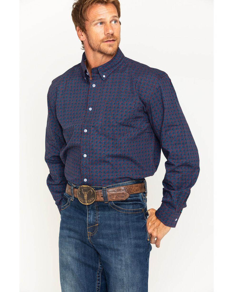 Cody James Men's Tulsa Paisley Long Sleeve Button Down Shirt, Burgundy, hi-res