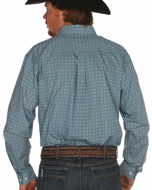 Cinch Men's Plain Weave Teal Box Print Long Sleeve Shirt, Teal, hi-res