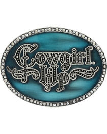 Montana Silversmiths Women's Little Attitude Turquoise Cowgirl Up Buckle, , hi-res