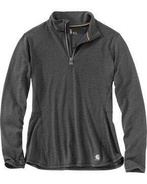 Carhartt Women's Force Ferndale Quarter Zip Shirt , Black, hi-res