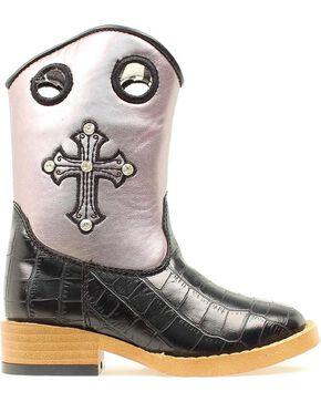 Blazin Roxx Children's Sonora Croc Print Zipper Cowgirl Boots - Square Toe, Black, hi-res