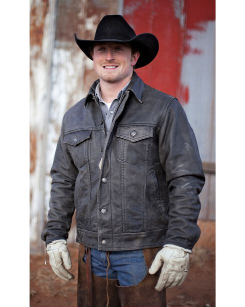 STS Ranchwear Men's Maverick Black Leather Jacket - Big & Tall - 2XL-3XL, Black, hi-res