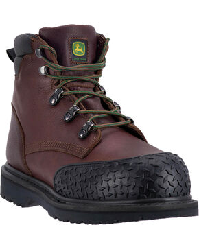"John Deere Men's 6"" Work Rubber Toe Cap Boots - Round Toe, Brown, hi-res"