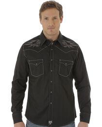 Wrangler Rock 47 Men's Black Embroidered Western Shirt , , hi-res