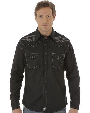 Wrangler Rock 47 Men's Black Embroidered Western Shirt , Black, hi-res