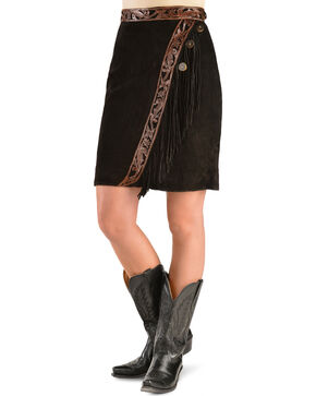Kobler Leather Women's Tooled Leather & Fringe Sedona Suede Skirt, Black, hi-res