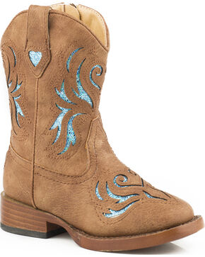 Roper Toddler Girls' Tan Glitter Breeze Cowgirl Boots - Square Toe , Tan, hi-res