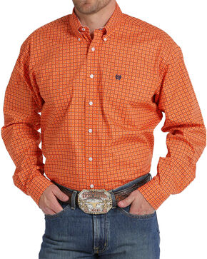Cinch Men's Orange Square Patterned Western Shirt , Orange, hi-res