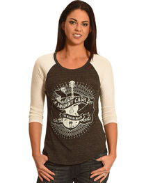 Bohemian Cowgirl Women's Johnny Cash 3/4 Sleeve Baseball Tee, , hi-res