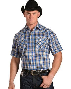 Ely Cattleman Men's Blue Textured Plaid Shirt , Blue, hi-res