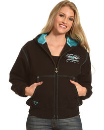 Cowgirl Hardware Women's Embroidered Canvas Hooded Jacket, , hi-res
