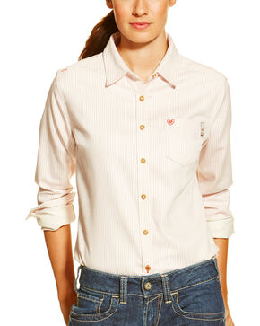 Ariat Women's FR Stripe Long Sleeve Shirt, Pink Stripe, hi-res