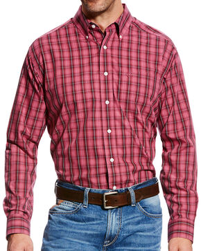 Ariat Men's Wrinkle Free Jack Plaid Long Sleeve Button Down Shirt, Dark Pink, hi-res