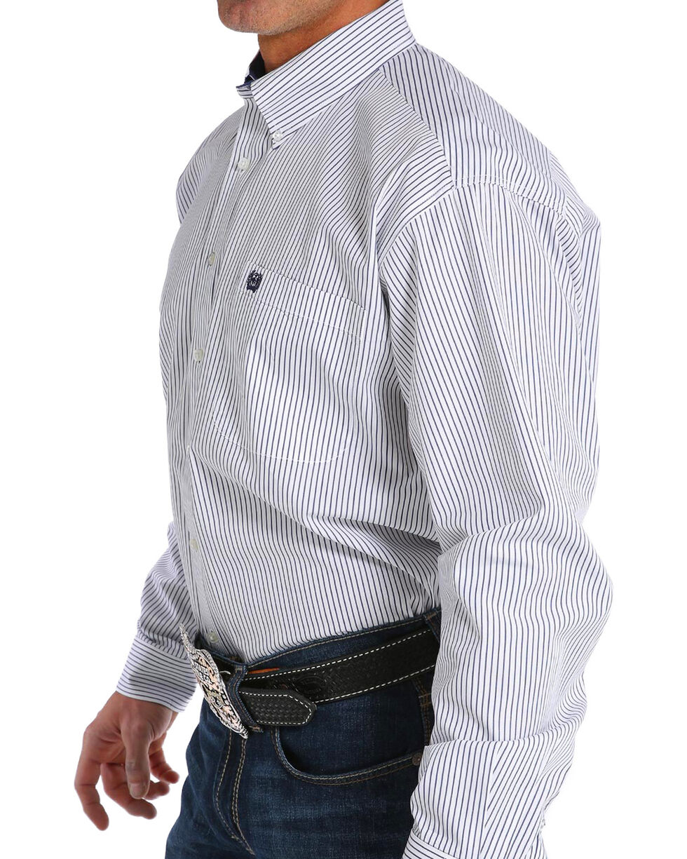 Cinch Men's White Striped Pattern Shirt , White, hi-res