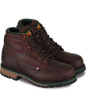 "Thorogood Men's 6"" American Heritage Static Dissipative Work Boots - Steel Toe, Dark Brown, hi-res"