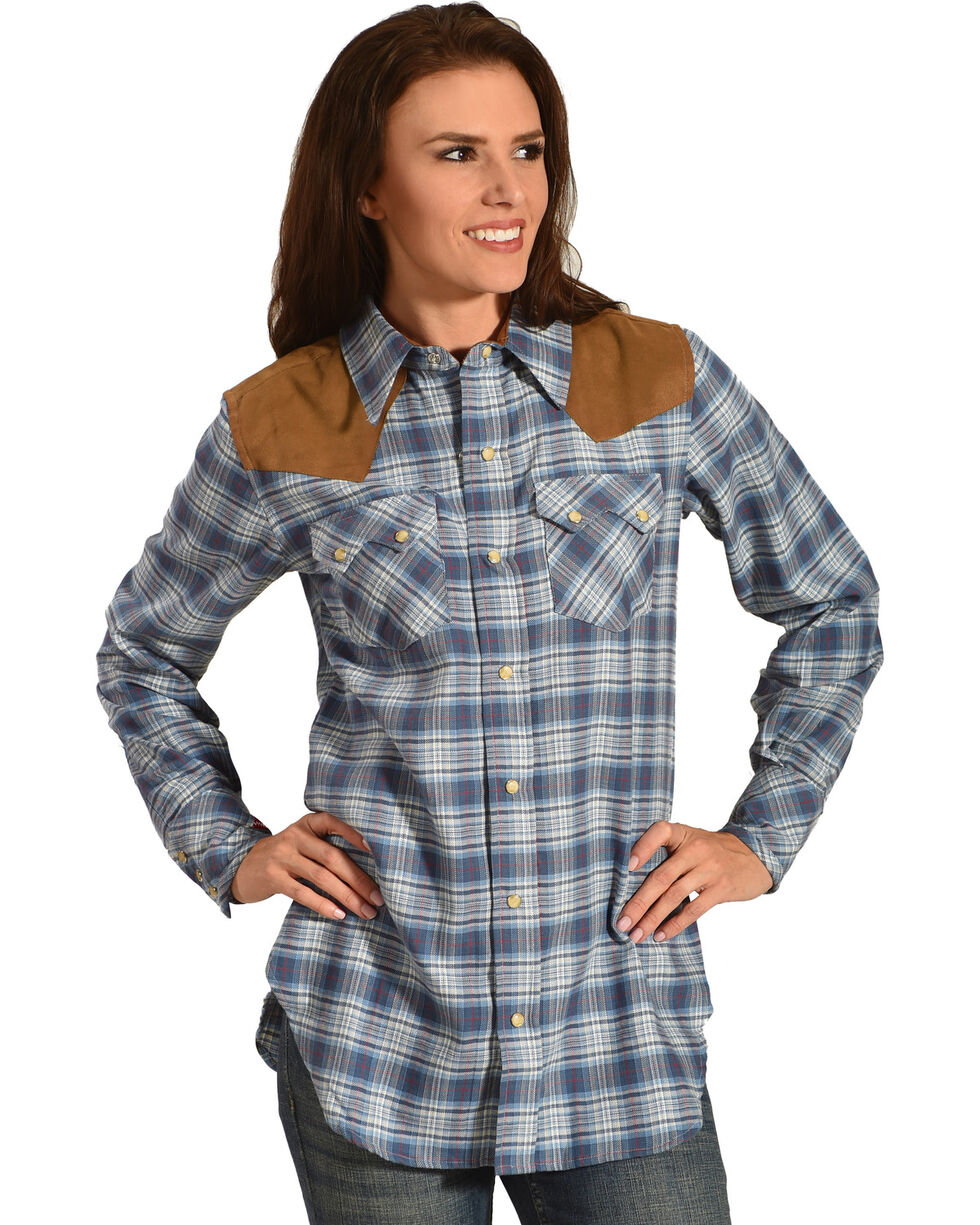 Tasha Polizzi Women's Warrior Indigo Plaid Shirt , Indigo, hi-res