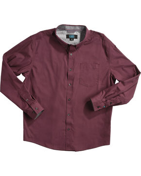 Cody James Men's Latigo Plaid Long Sleeve Western Snap Shirt, Burgundy, hi-res