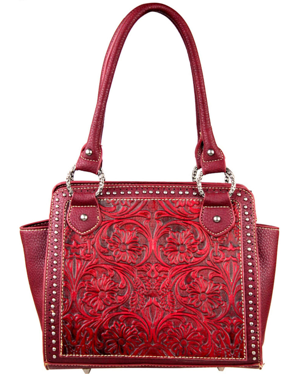 Montana West Trinity Ranch Red Tooled Design Handbag, Red, hi-res