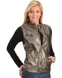 Erin London Women's Platinum Faux Leather Rubbed Vest, , hi-res