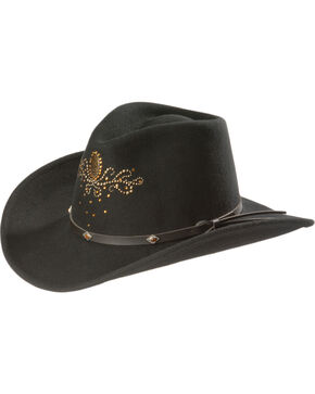 Destiny Rhinestone Embellished Crushable Wool Cowgirl Hat, Black, hi-res