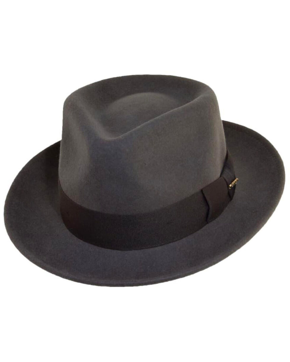 Scala Fashion Gray Wool Felt with Grosgrain Trim Fedora Hat, Grey, hi-res