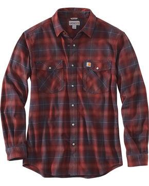 Carhartt Men's Red Rugged Flex Hamilton Snap-Front Plaid Shirt - Big , Red, hi-res