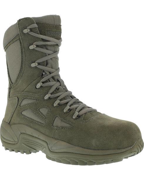 "Reebok Women's Stealth 8"" Lace-Up Black Side-Zip Work Boots - Composition Toe, Sage, hi-res"
