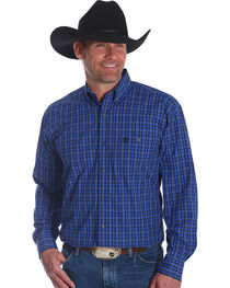 Wrangler Men's Blue George Strait Checkered Print Shirt - Big & Tall , Blue, hi-res