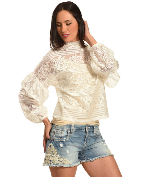 Young Essence Women's Lace Ruffle Top, White, hi-res