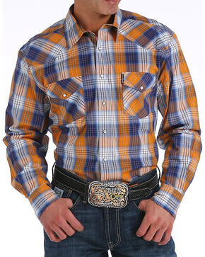 Cinch Men's Modern Fit Multi Plaid Long Sleeve Western Shirt, Purple, hi-res