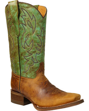 Corral Boys' Brown & Green Honey Crisp Cowboy Boots - Square Toe, Honey, hi-res