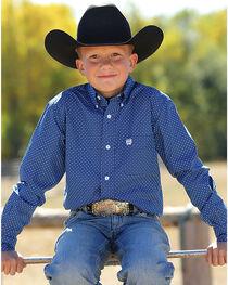 Cinch Boys' Printed Button Down Long Sleeve Shirt, , hi-res