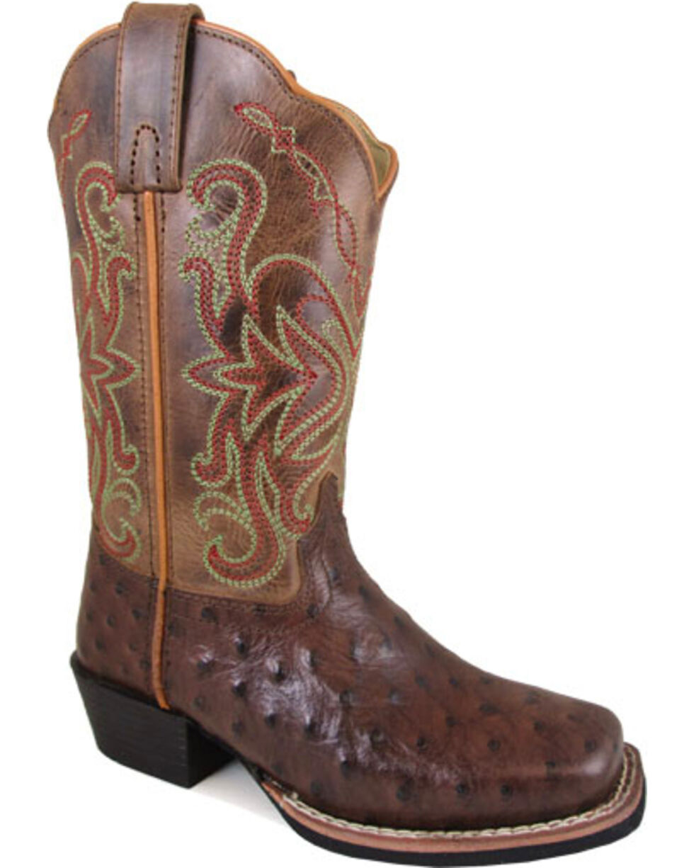 Smoky Mountain Girls' Brown Belle Crackle Leather Boots - Square Toe , Brown, hi-res