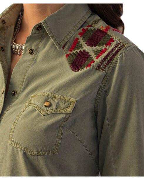Ryan Michael Women's Samantha Aztec Embroidered Dress, Leaf, hi-res