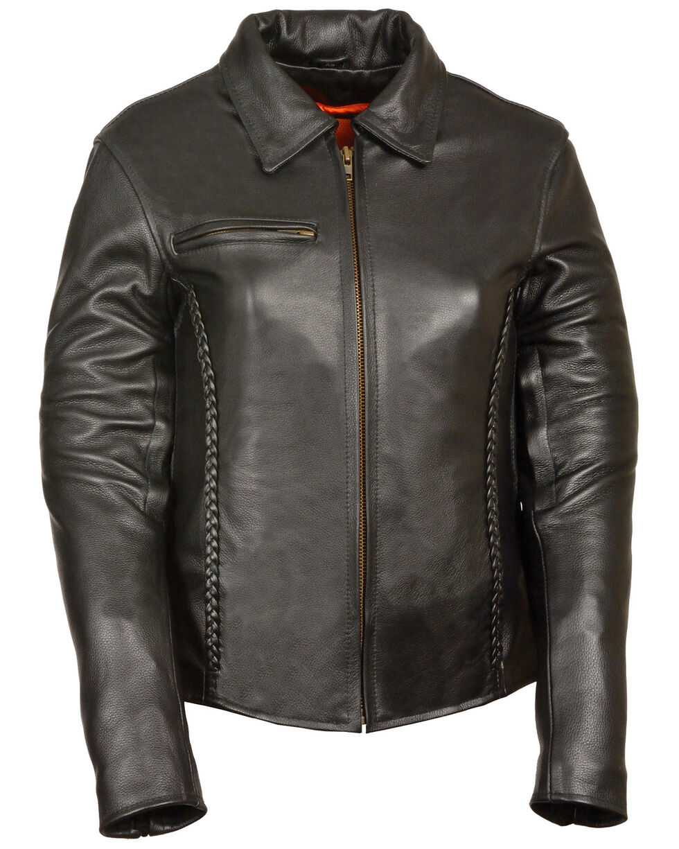 Milwaukee Leather Women's Shirt Collar Braided Leather Jacket - 3X, Black, hi-res