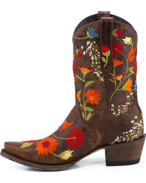 Lane Women's Flower Power Western Boots - Snip Toe, Brown, hi-res