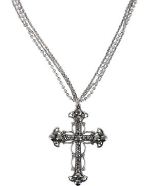 Shyanne® Women's Rhinestone Cross Necklace, Silver, hi-res