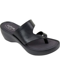 Eastland Women's Black Laurel Wedge Thong Sandals, , hi-res