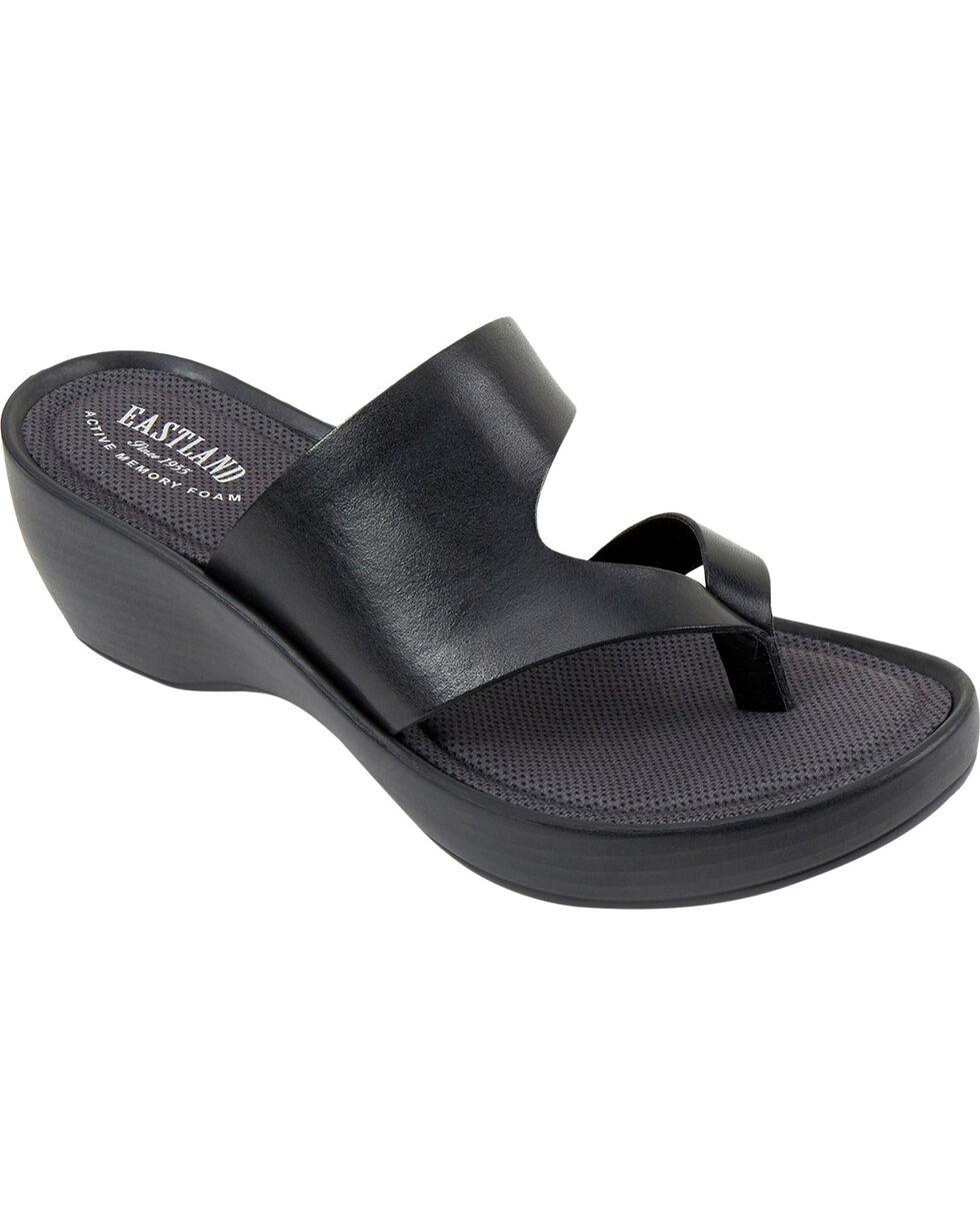Eastland Women's Laurel Wedge Thong Sandals, Black, hi-res