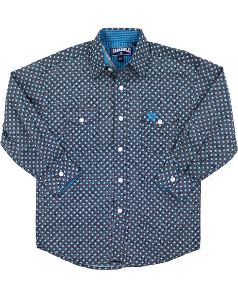 Panhandle Boys' Dot Patterned Long Sleeve Shirt, Turquoise, hi-res