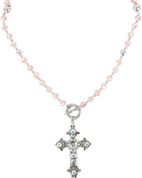 Shyanne® Women's Vintage Cross Necklace, Pink, hi-res