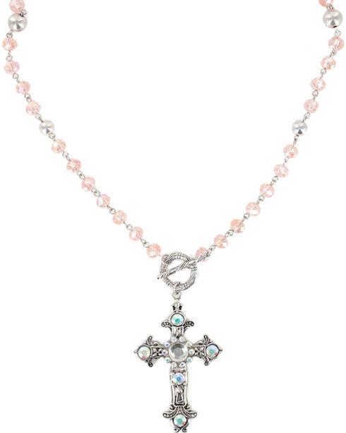 Shyanne® Women's Vintage Cross Necklace, Pink, hi-res